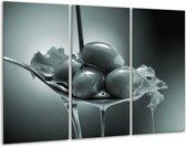 Glas schilderij Olijven, Keuken | Grijs, Groen | 120x80cm 3Luik | Foto print op Glas |  F006809