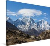 Himalaya-berg in Nepal Canvas 140x90 cm - Foto print op Canvas schilderij (Wanddecoratie woonkamer / slaapkamer)
