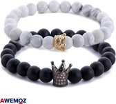 Natuurstenen Armbanden - Zwart/witte Armbandjes van Natuursteen - Kronen - Vanaf 16 cm Polsdikte