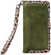 Mobilize - iPhone 11 Pro Max Hoesje - Uitneembare Gelly Wallet Case Luipaard Donker Groen