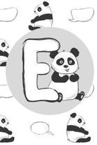 E: Initial E Monogram Notebook Journal Gift Cute Panda character design