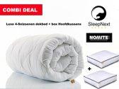 SleepNext HQ - Combi deal - Luxe Hotel 4-seizoenen dekbed - 200x220cm + 2 x Box hoofdkussen twv 59,95