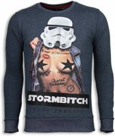 Local Fanatic Stormbitch - Rhinestone Sweater - Blauw - Maten: M