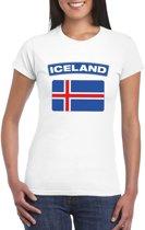 T-shirt met IJslandse vlag wit dames L