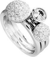 Diamonfire - Zilveren ring met steen Maat 18.5 - 2x ring met pav' bol - 1x solitaire