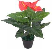 vidaXL Kunst anthurium plant met pot 45 cm rood en geel