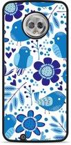 Moto G6 Hardcase Hoesje Blue Bird and Flowers