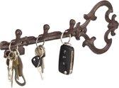 relaxdays sleutelhouder antiek gietijzer sleutelvorm, sleutelhaakjes, met haken