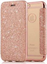 Luxe Crystal Folio Flip hoesje - Book case voor Apple iPhone 7 - iPhone 8 - Roze - Glitters - Bling Bling - Hoogwaardig PU leer - Soft TPU binnenkant cover