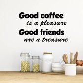 Muursticker Good Coffee Is A Pleasure. Good Friends Are A Treasure -  Geel -  160 x 100 cm  - Muursticker4Sale