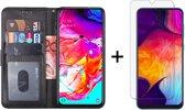 Samsung Galaxy A50 Hoesje - 1 x Tempered Glass Screenprotector - Book Case Nieuw Model - Zwart