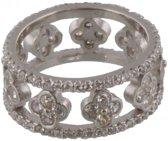 925 Zilveren ring met zirkonias.