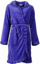 Romantische fleece dames badjas met capuchon. Blauwe kleur,S9-10.