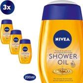 NIVEA Natural Oil Doucheolie - 3 X 200 ml - Voordeelpakking