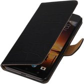 Wicked Narwal | Croco bookstyle / book case/ wallet case Hoes voor HTC One X9 Zwart