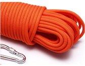 Paracord - Touw - 8 mm - 10 meter - Rood - Vismagneet touw - Met Karabijnhaak - Magneetvissen touw - 600 kg trekkracht