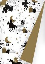 Sinterklaas Cadeaupapier S691668-2 - op de hoge daken zwart goud - Toonbankrol breedte 40cm - 125m lang