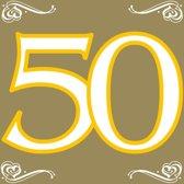 Wegwerp Servetten 50  jaar - 33x33 cm - Goud 20 stuks