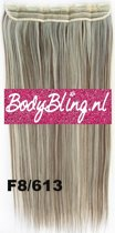 Clip in hairextensions 1 baan straight bruin / blond - F8/613