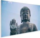 Heldere lucht boven de Tian Tan Boeddha in Hong Kong Plexiglas 30x20 cm - klein - Foto print op Glas (Plexiglas wanddecoratie)