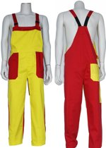 Yoworkwear Tuinbroek polyester/katoen geel-rood maat 152