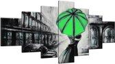 Schilderij handgeschilderd Liefde | Groen , Zwart , Grijs | 210x100cm 7Luik