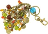 Behave® Vintage tassen hanger - sleutelhanger - oud goud-kleur - kraaltjes en hangertjes 14 cm