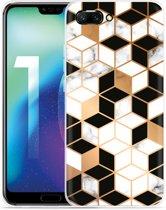 Huawei Honor 10 Hoesje Black-white-gold Marble