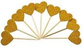 40 Stuks Cocktailprikkers Glitter Hartjes | Goud | Verjaardag | Feest Accessoires