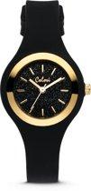 Colori Macaron Sparkle 5-COL541 - Horloge - siliconen band - ø 30 mm - zwart / goudkleurig