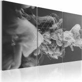Schilderij - Rook en Geometrie, Grijs, 3luik