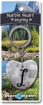 Marmer sleutelhanger hart - I