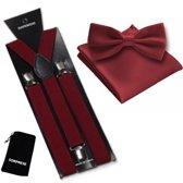 Bretels inclusief vlinderdas en pochette - Bordeaux rood - Sorprese - met stevige clip - bretels - vlinderdas – strik – strikje – pochet - luxe - unisex - heren - giftset