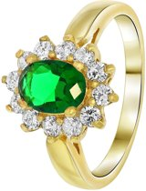 Lucardi - Nouveau Vintage - Goldplated ring emerald met zirkonia