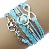 Fako Bijoux® - Multi Armband - Infinity Hart Cupido - Lichtblauw