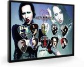 Plectrumdisplay Marilyn Manson ingelijst