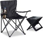 relaxdays campingstoel met rugleuning, armleuning en bekerhouder, polyester zwart