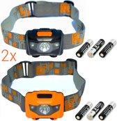Hoofdlampen LED | 2 stuks | 160 lumen | incl. batterijen | zwart oranje | KMHL006