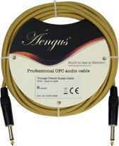 Áengus Gold Tweed Gitaarkabel - instrumentkabel 6 meter - 6.35mm mono jack plug recht/recht - goud