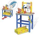 Houten speelgoed werkbank, gereedschapskoffer, gereedschap en bouwmaterialen