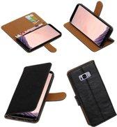 Zwart vintage lederlook bookcase wallet smartphone Telefoonhoesje voor Samsung Galaxy S8