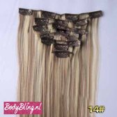 Clip in hairextensions 7 set straight bruin / blond - P8/613