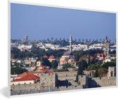 Foto in lijst - Uitzicht over de Oude stad van Rhodos fotolijst wit 60x40 cm - Poster in lijst (Wanddecoratie woonkamer / slaapkamer)