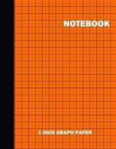 Notebook. 1 Inch Graph Paper: Grid Notebook/Grid Paper Journal 8.5x11 in. Orange Grid Notepad
