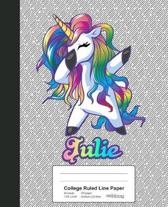 College Ruled Line Paper: JULIE Unicorn Rainbow Notebook