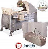 Lionelo Simon - 2 in 1 Reisbedje en Commode met vele accessoires en draagtas - Zand Grijs