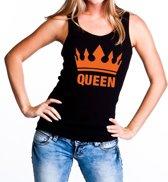 Zwart Queen tanktop / mouwloos shirt met oranje kroon - Koningsdag kleding S