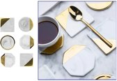 Premium Marmer & Gouden Onderzetters - Onderleggers voor Glazen - Voorkom Glas kringen - Vierkante Design Coasters - Set van 6 stuks