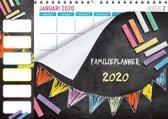 Family planner XL 2020 - Familieplanner Omlegkalender - Krijtbord - Vlaggetjes - 34 x 24,5 cm