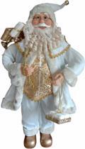 Grote kerstman in witte kleding en cadeaus - 90cm